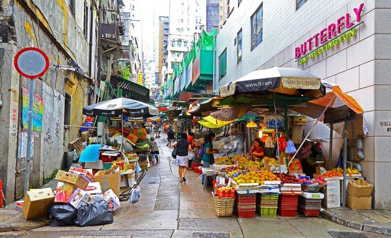 Wellington street market, hong kong stock image