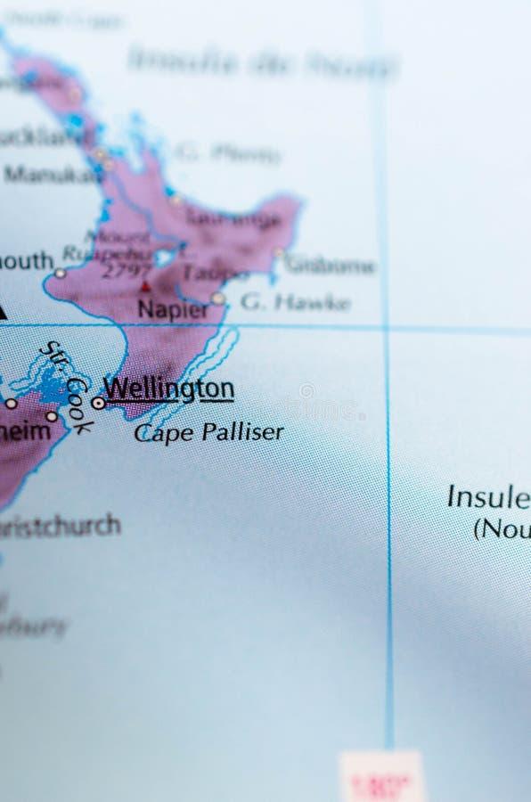 Wellington sur la carte photographie stock libre de droits