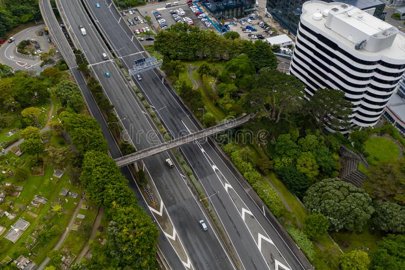 Wellington Urban Motorway, SH1 Opinión aérea de Nueva Zelanda imagenes de archivo