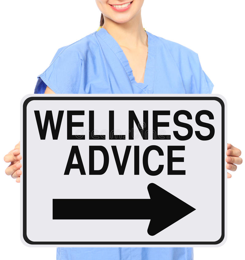 Wellness Advice. A medical person holding a modified one way sign indicating Wellness Advice royalty free stock image