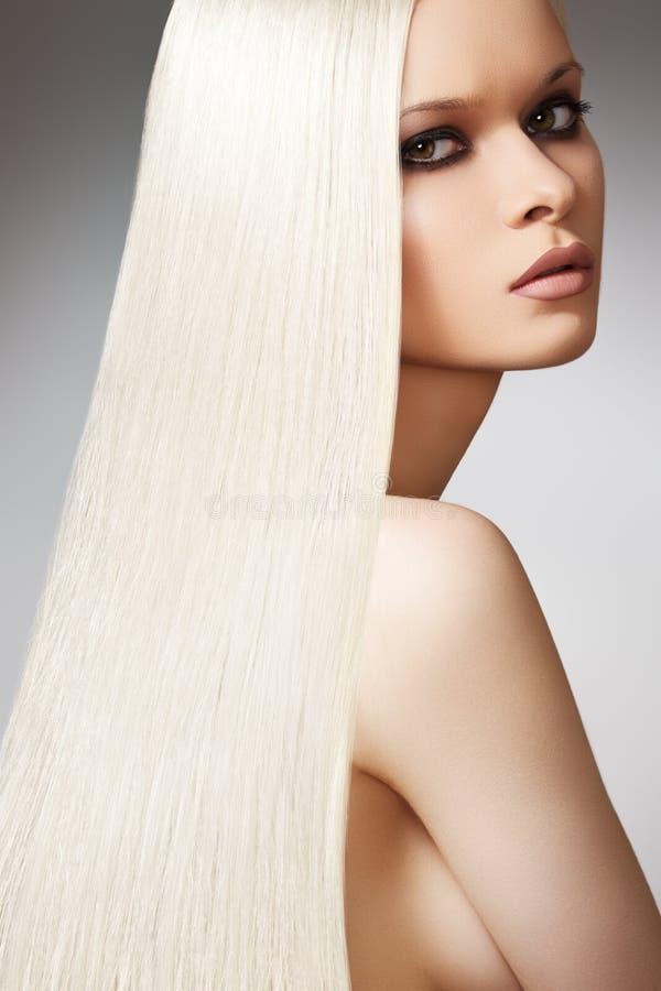 Wellness Beautiful Model, Long Blond Straight Hair Stock Photography