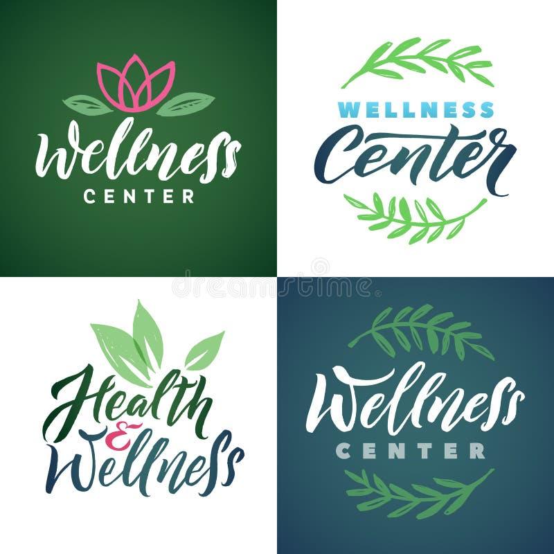 Wellness Center Vector Logo Set. Green Leaves Illustration. Brand Lettering. royalty free illustration