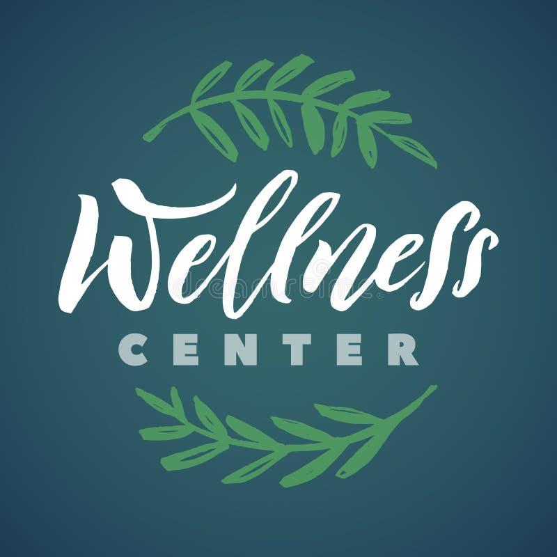 Wellness Center Vector Logo. Stroke Green Leaves Illustration. Brand Lettering royalty free illustration