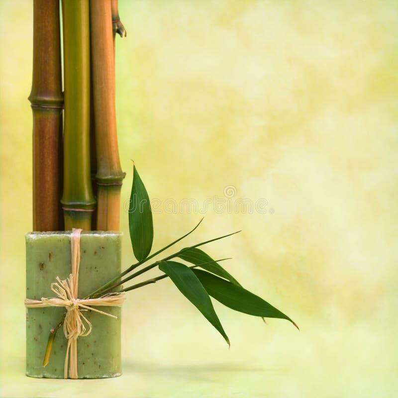 Wellness com sabão erval e bambus foto de stock