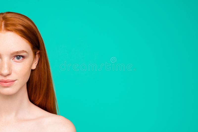 Wellness concept. Half-face portrait of nude natural red girl, s stock photography