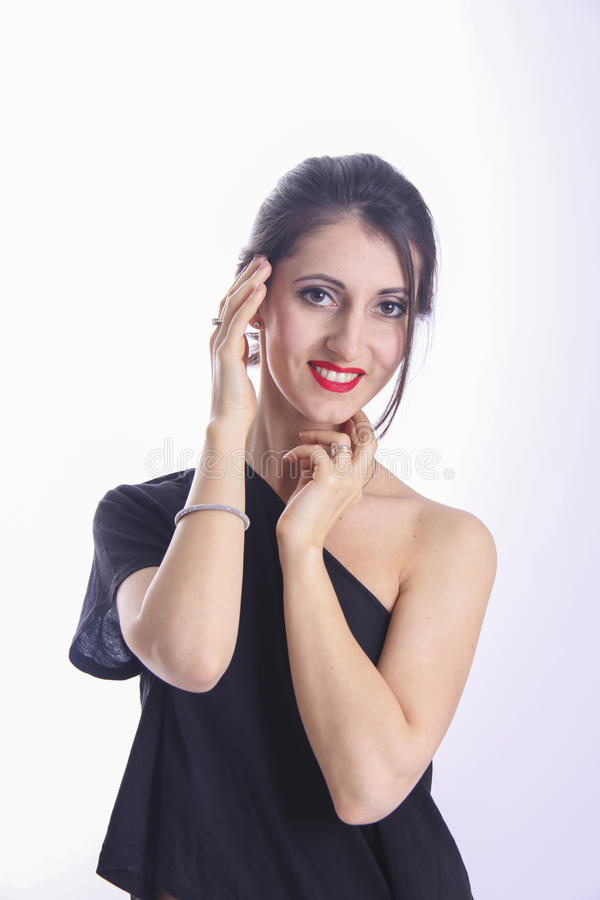 Wellness and cosmetic. woman with red lips and brown eyes. Studio shot stock images