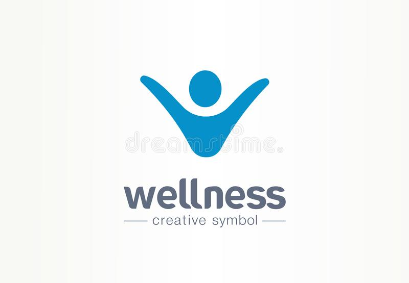 Wellness creative symbol lifestyle concept. Happy energy person abstract business fitness logo. People succes, freedom vector illustration