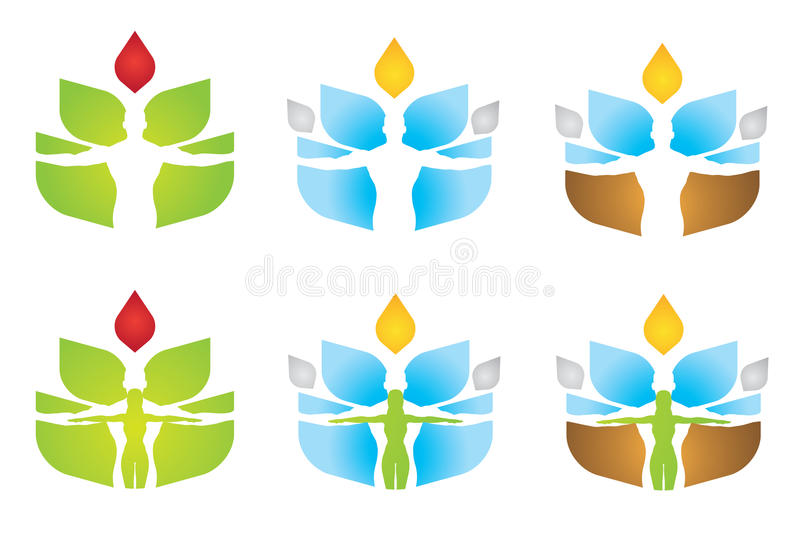 Wellness Elements logo. Variations of a logo suitable for wellness or spa businesses, or for something ecological/spiritually related. In the multicolored logo royalty free illustration