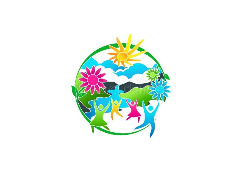 Wellness, embleem, de lente, bloem, pictogram, de zomer, rivier, symbool en gezond mensenconceptontwerp royalty-vrije illustratie