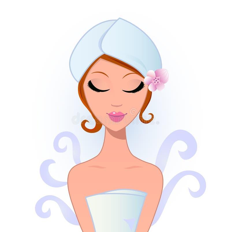 Wellness en kuuroordvrouw - die op wit wordt geïsoleerdl royalty-vrije illustratie