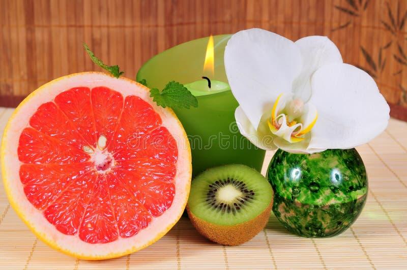 wellness för grapefruktkiwiorchid royaltyfri fotografi