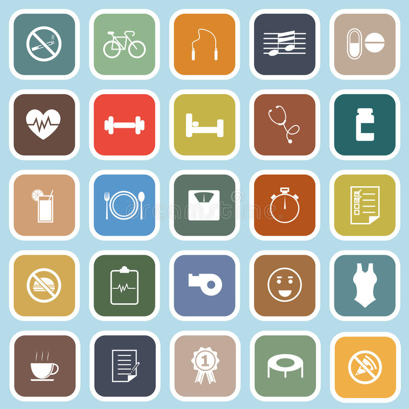 Download Wellness Flat Icons On Blue Background Stock Vector - Image: 35219028