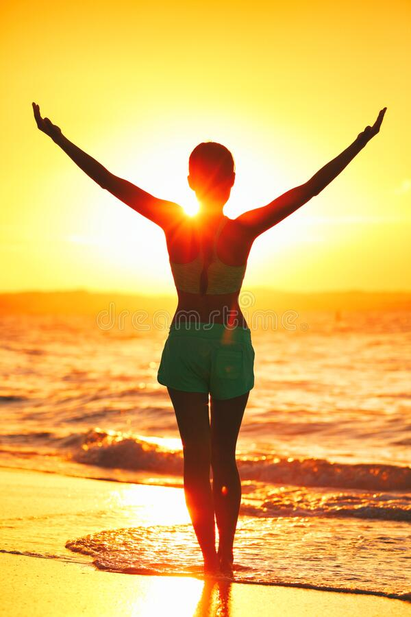 Free Wellness Girl Doing Sun Salutation Morning Yoga. Carefree Person Living A Free Life. Cheering Woman Open Arms To Sunrise Stock Image - 191824311