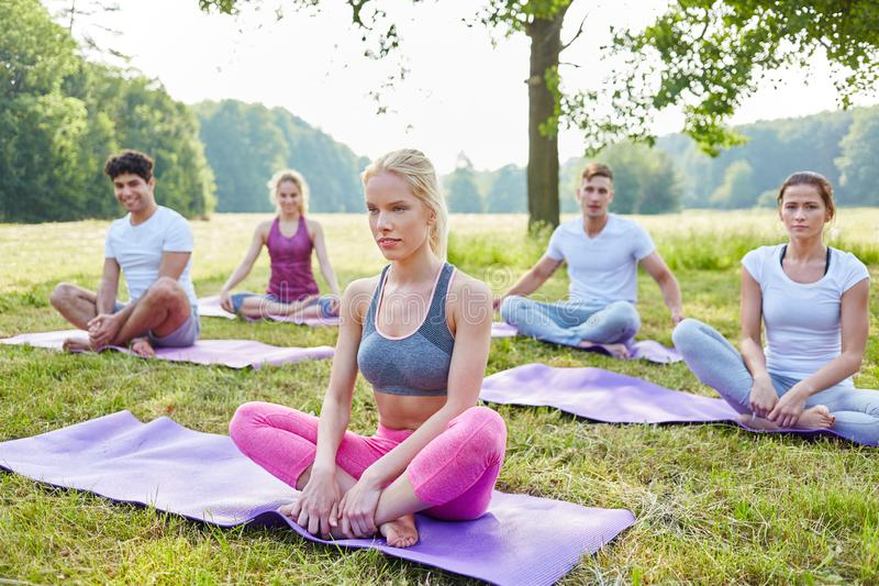 Wellness group doing yoga royalty free stock photography