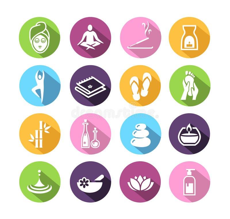 Wellness ikony w płaskim projekta stylu royalty ilustracja