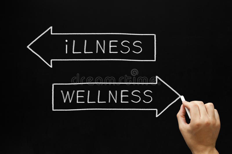 Wellness or Illness Concept. Hand sketching Wellness or Illness concept with white chalk on a blackboard stock images