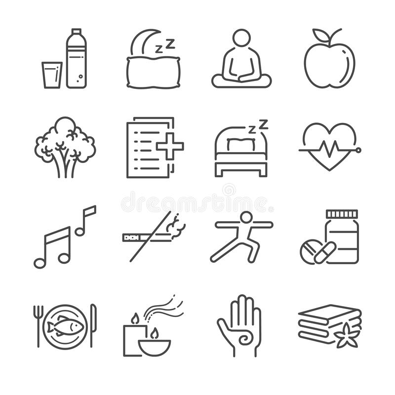 Wellness life line icon set. Included the icons as water, spa, good sleep, exercise, mental health and more. stock illustration