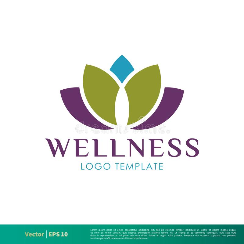Wellness-Lotus Icon Vector Logo Template-Illustrations-Entwurf Vektor ENV 10 vektor abbildung