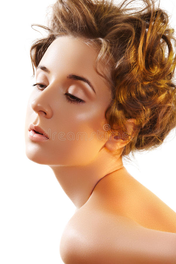 Wellness & make-up. Beauty with curly hairstyle stock image