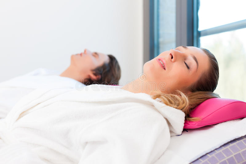 Download Wellness - Man And Woman Relaxing After Sauna Stock Photo - Image: 24465532