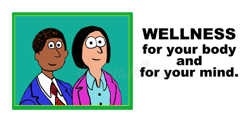 Wellness. Medical cartoon showing two people and the words, 'Wellness for you body and for your mind stock illustration