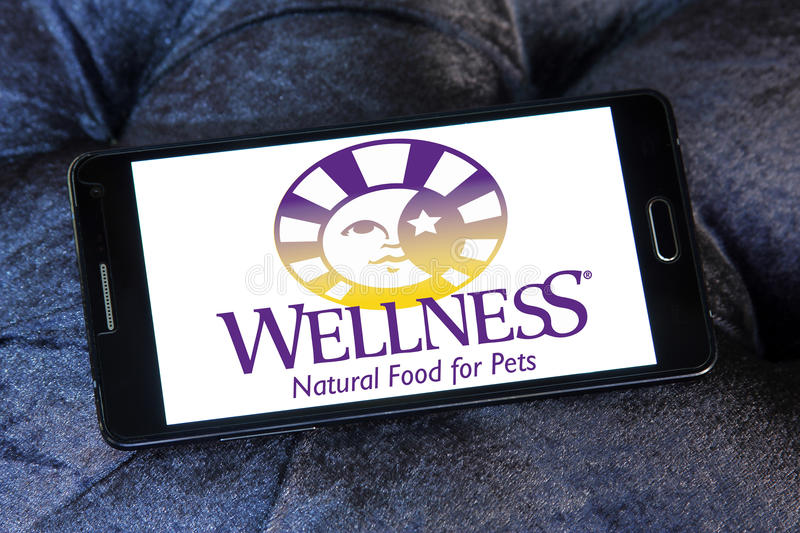 Wellness pet food logo. Logo of wellness pet food company on samsung mobile stock photo