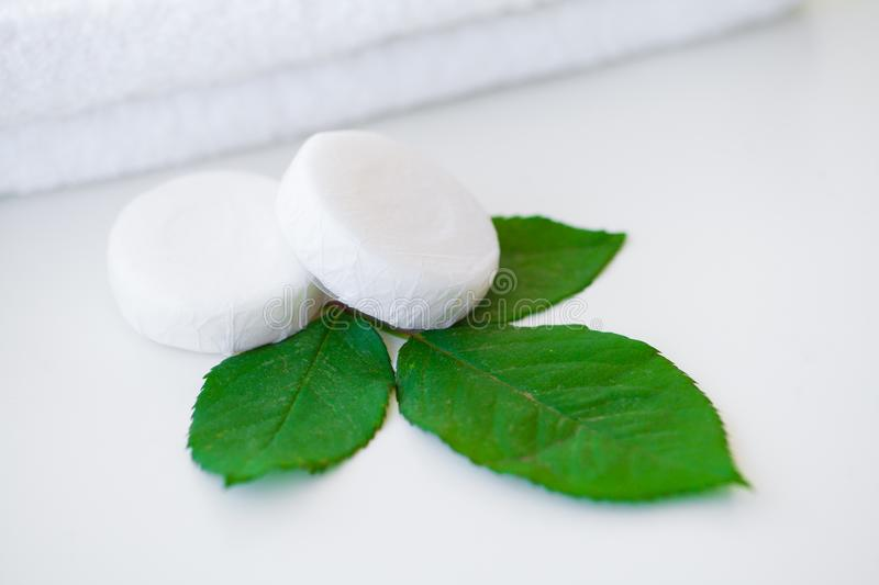 Wellness Products and Cosmetics. Bath-day Ingredients For Spa Tr. Eatments Soap on White Background stock photo