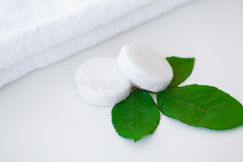 Wellness Products and Cosmetics. Bath-day Ingredients For Spa Tr. Eatments Soap on White Background stock images
