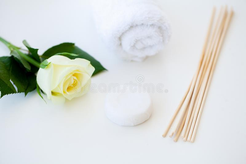 Wellness Products and Cosmetics. Bath-day Ingredients For Spa Tr. Eatments Soap on White Background stock photos