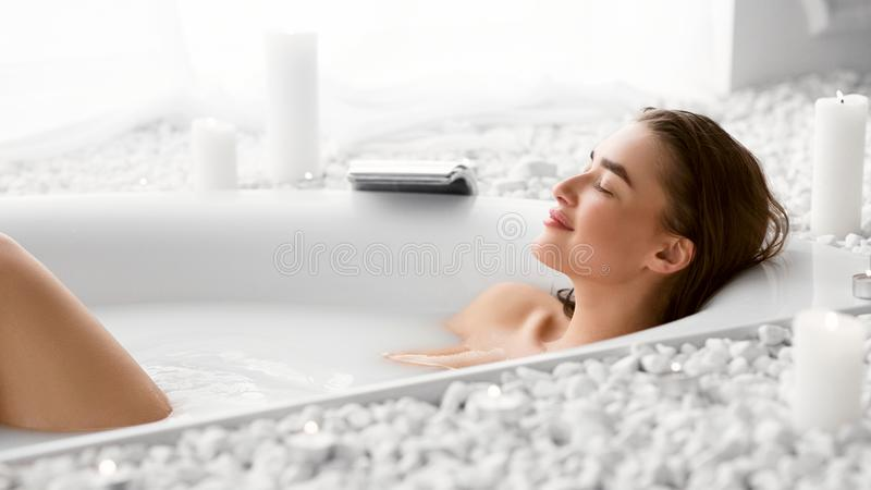 Wellness And Relax Concept. Woman Resting In Bath. After Work Day stock images
