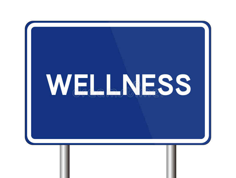Wellness Road Sign. Isolated on white background royalty free illustration