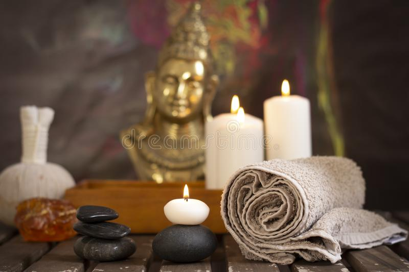 Wellness spa composition. Massage stones and candles. wellness spa composition stock photo