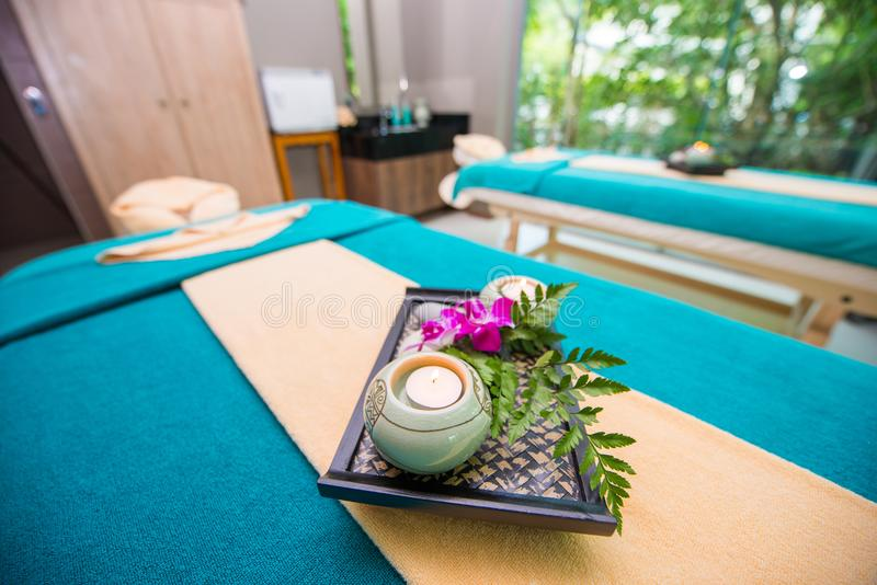 Wellness and spa concept with candles and orchid stock photography