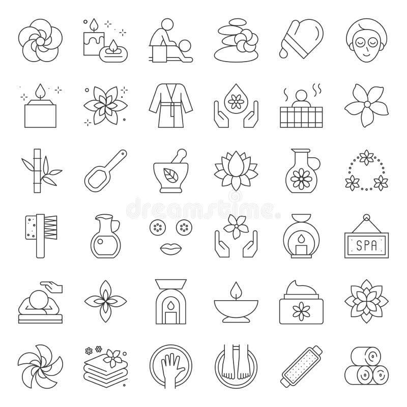 Wellness Spa en saunaelementen, het dunne pictogram van het lijnontwerp stock illustratie