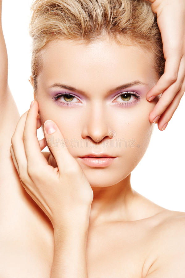 Free Wellness & Spa. Sensual Model With Violet Make-up Stock Photography - 15782162