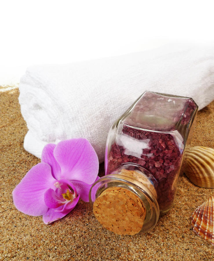 Wellness still life with bath salt stock photos