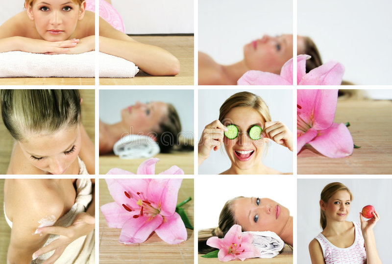 Wellness und Badekurortcollage stockfoto