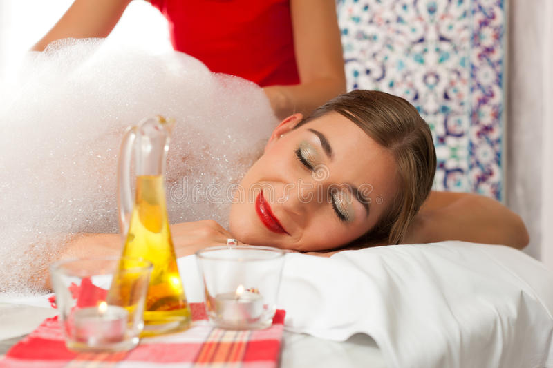 Wellness - Woman Getting Massage In Spa Stock Photos