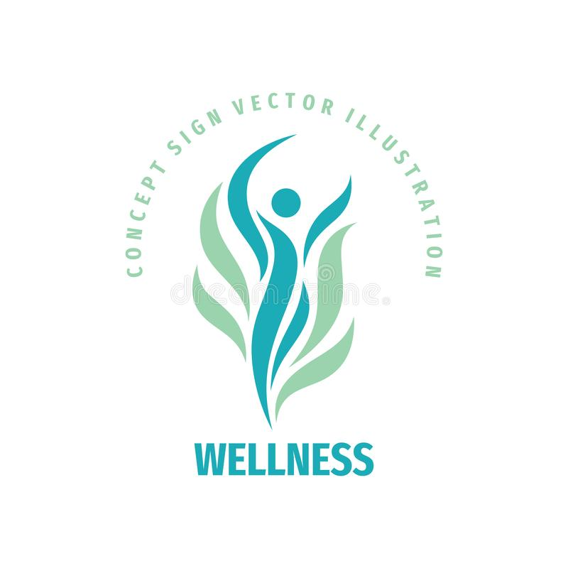 Wellness woman vector logo design. Abstract stylized human character sign. Healthcare concept symbol. royalty free illustration