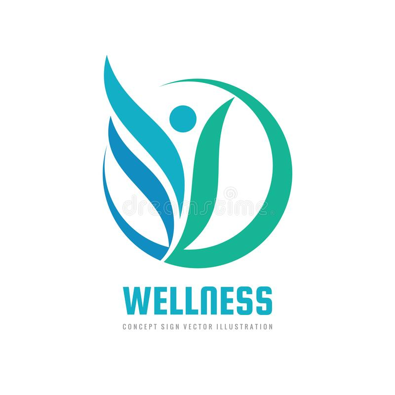 Wellness woman vector logo design. Abstract stylized human character sign. Healthcare concept symbol. stock illustration