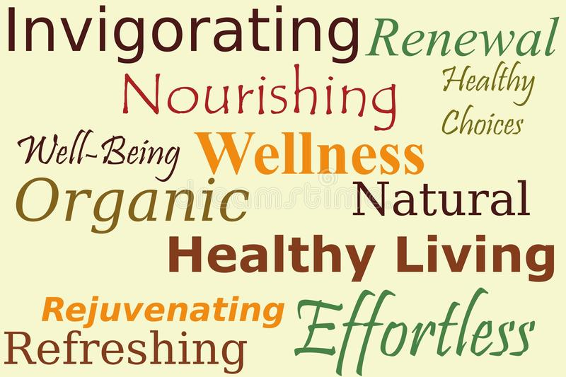 Wellness Words Collage. 'Wellness' words on a beige background