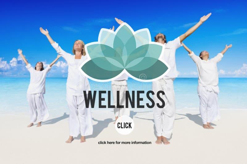 Wellnessen kopplar av begrepp för övning för Wellbeingnaturjämvikt arkivfoto