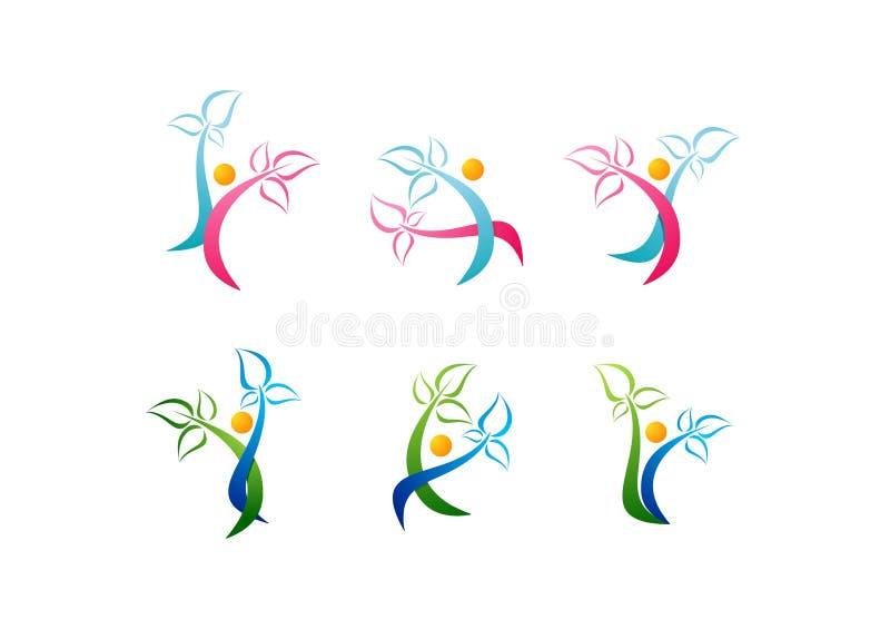 Wellnesslogoen, omsorgskönhetsymbolet, brunnsortsymbolshälsa, växt, den sunda folkuppsättningvektorn planlägger stock illustrationer