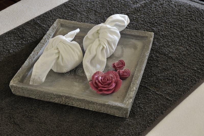 Wellnessmagasin med handdukar royaltyfria foton