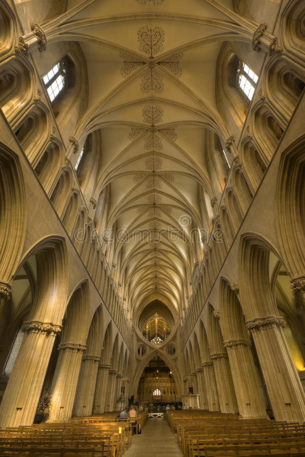 Wells Cathedral Interior stock photography