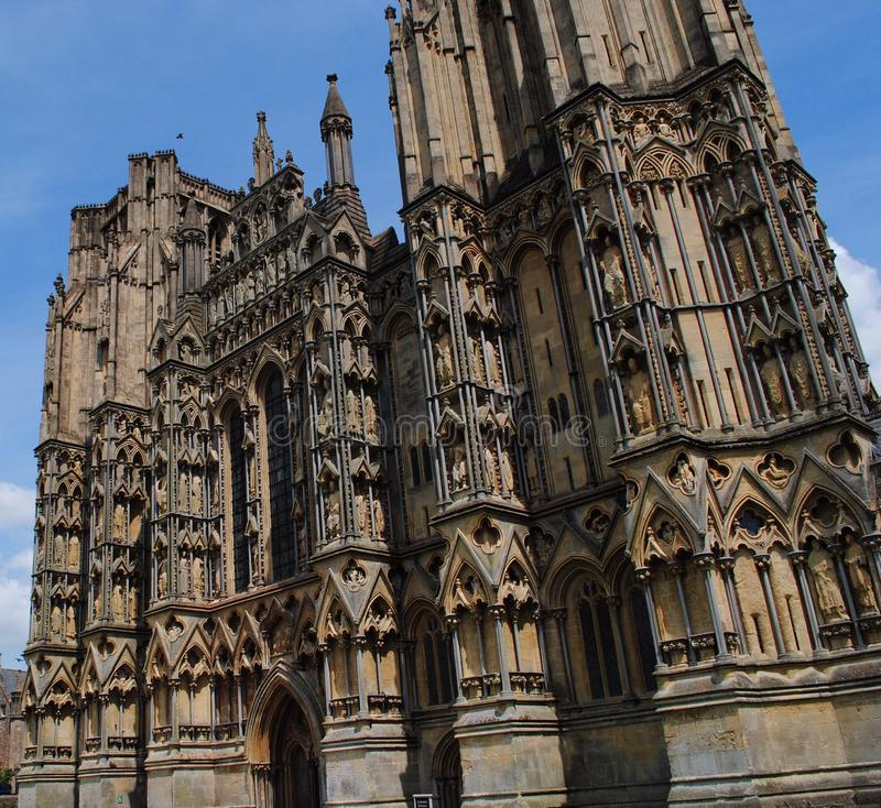 Wells Cathedral, Wells, Somerset, England. Early English Gothic architecture stock photo