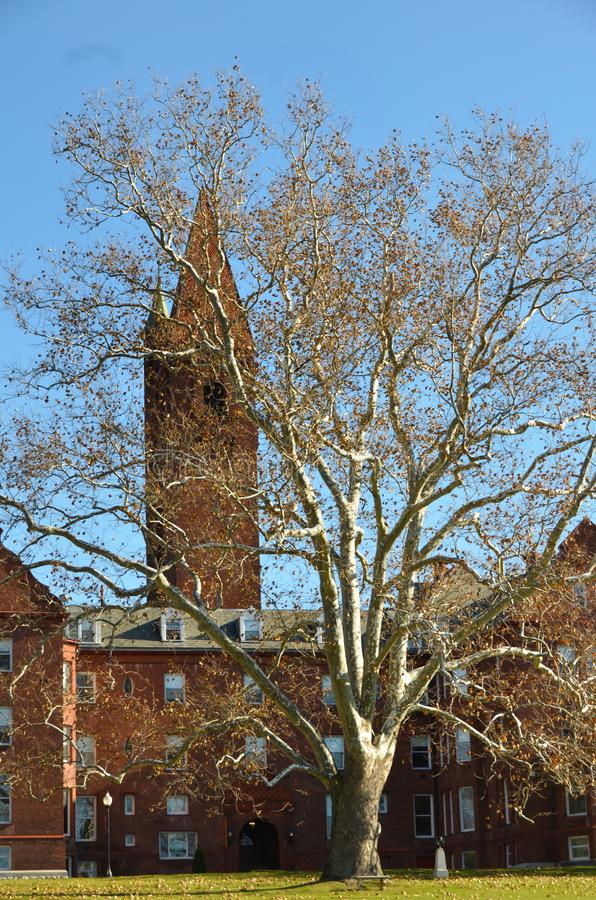 Wells College Tower in Aurora New York. Established in 1868 Wells as a women`s college. Wells College is a private coeducational liberal arts college in Aurora stock photo