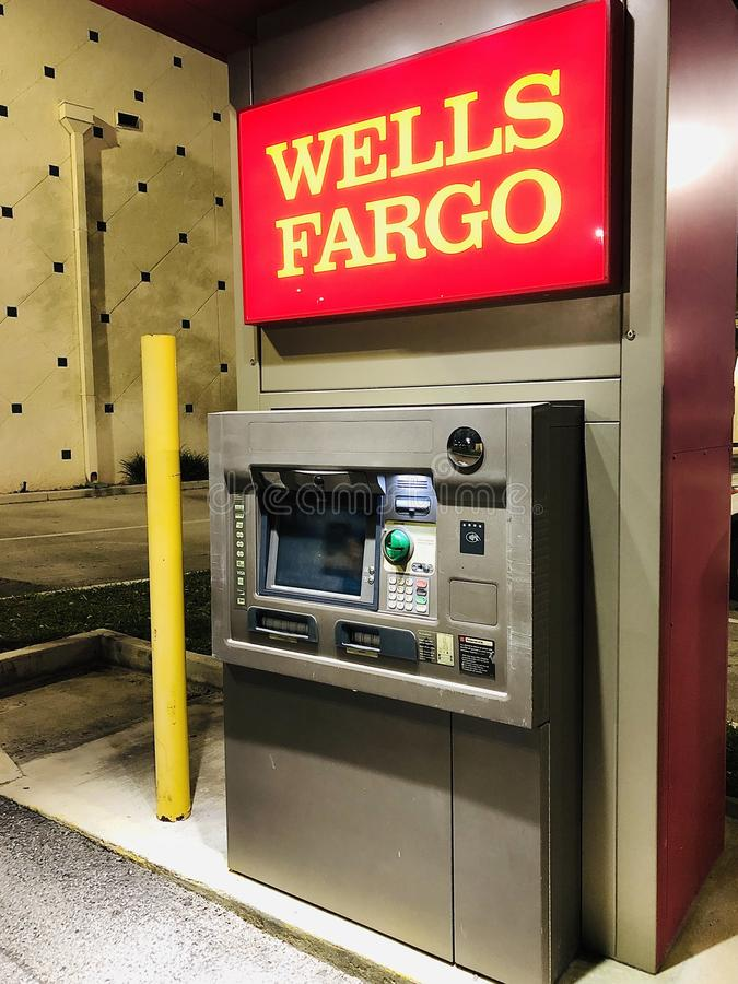 WELLS FARGO ATM. Wells Fargo & Company is an American multinational financial services company headquartered in San Francisco, California, with central offices royalty free stock photography