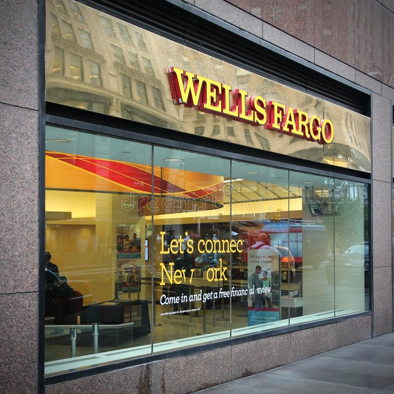 Wells Fargo bank. NEW YORK, USA - JUNE 10, 2013: Wells Fargo Bank branch in New York. Wells Fargo was the 23rd largest company in the United States in 2011 (by royalty free stock photos