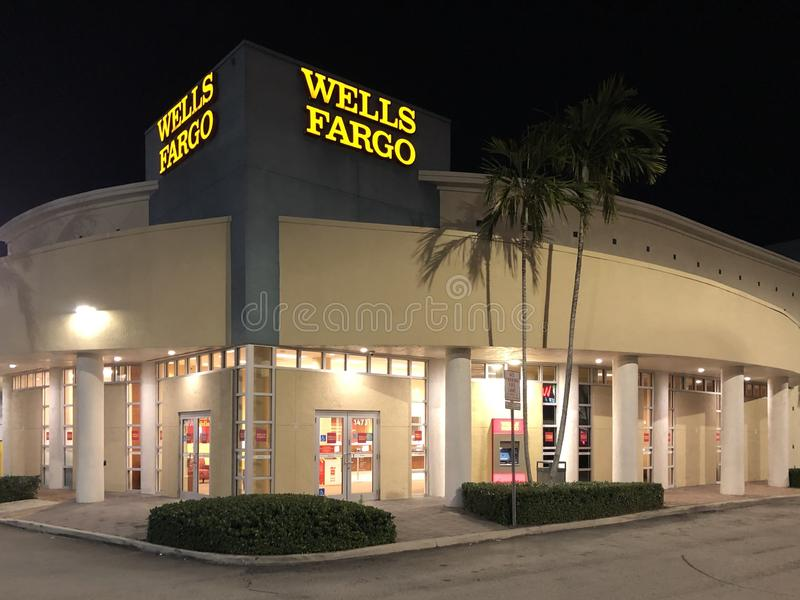 WELLS FARGO BANK in North Miami, FL, USA. Wells Fargo & Company is an American multinational financial services company headquartered in San Francisco royalty free stock photo